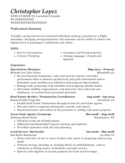 Operations Manager resume template California
