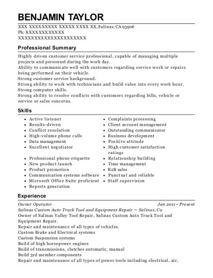 Owner Operator resume template California