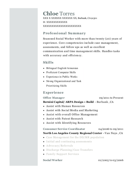 Office Manager resume sample California