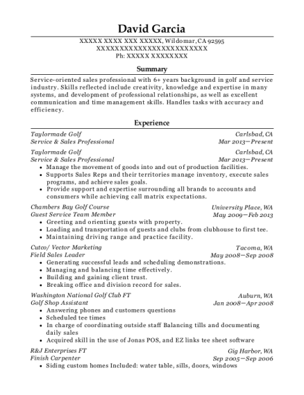 Service & Sales Professional resume example California