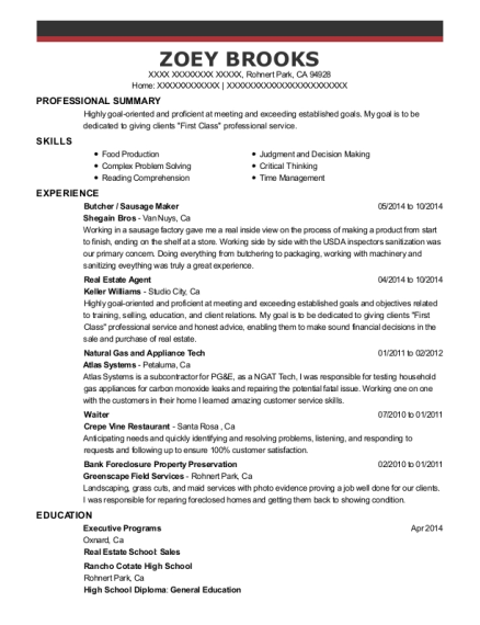 Butcher resume example California