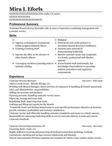 Customer Service Manager resume example California