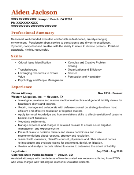 Claims Attorney resume template California