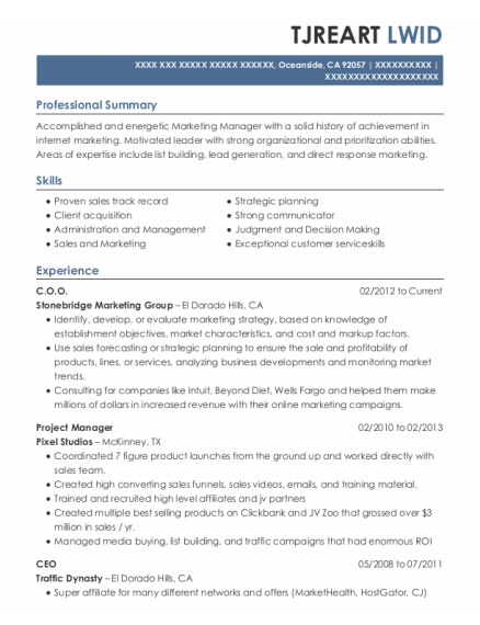 Coo resume format California