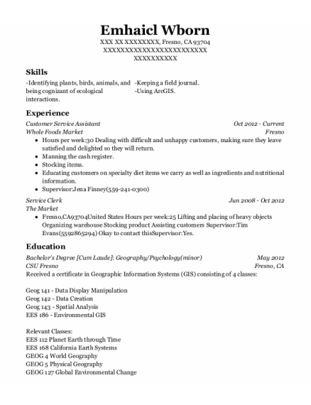 Customer Service Assistant resume sample California
