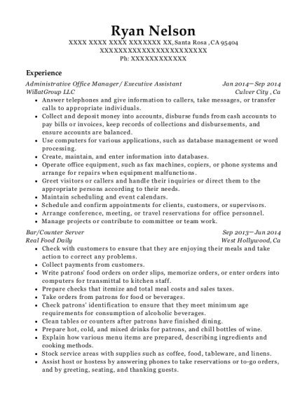 Administrative Office Manager resume example California
