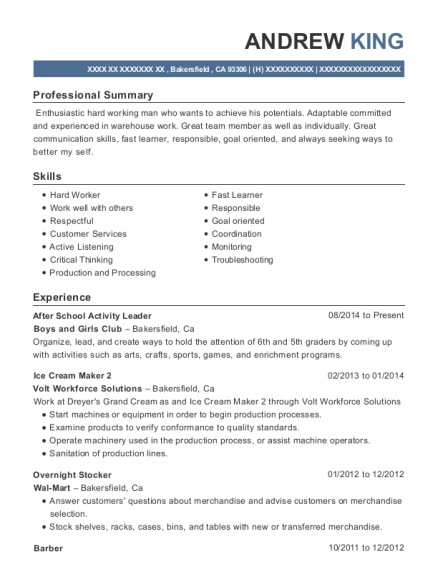 After School Activity Leader resume example California