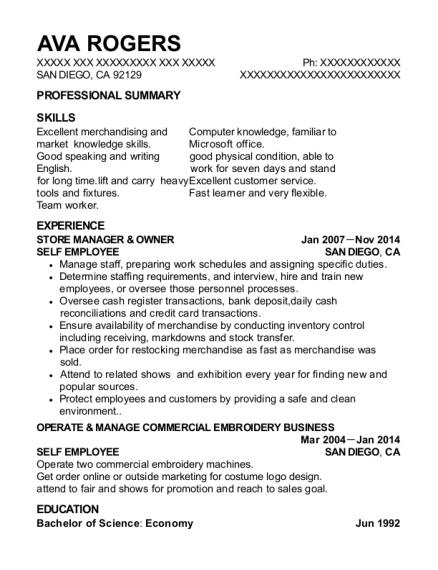 STORE MANAGER & OWNER resume sample California