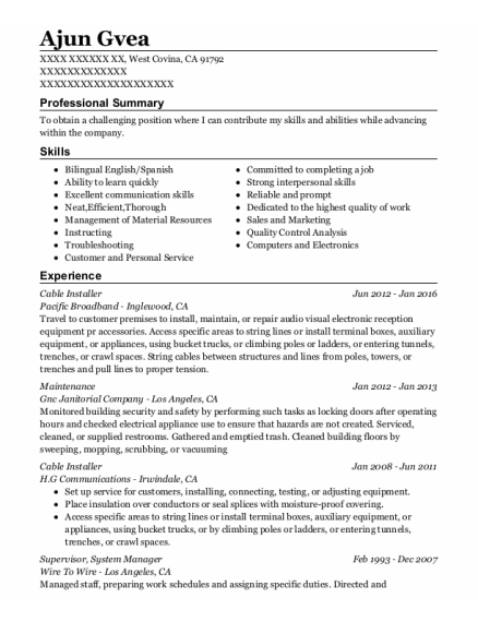 Cable Installer resume format California