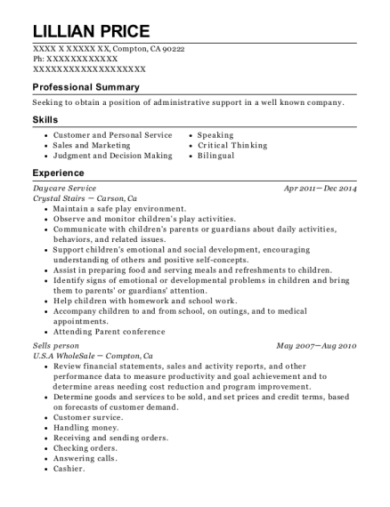 Daycare Service resume template California
