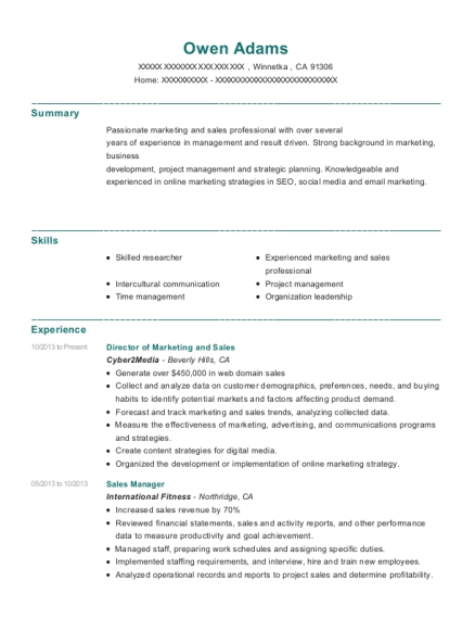 Director of Marketing and Sales resume template California