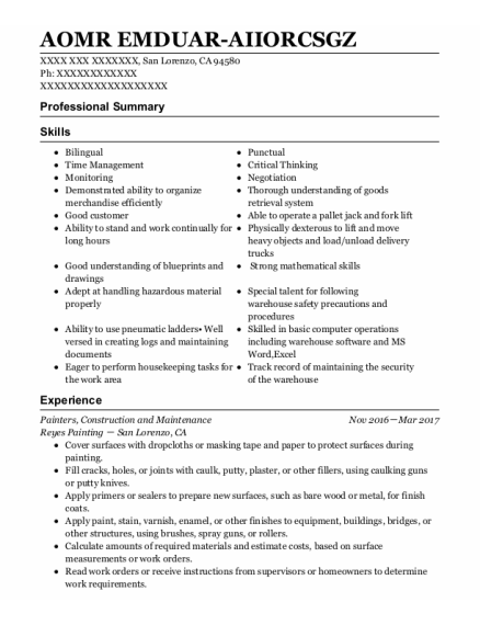 Painters Assistant resume example California