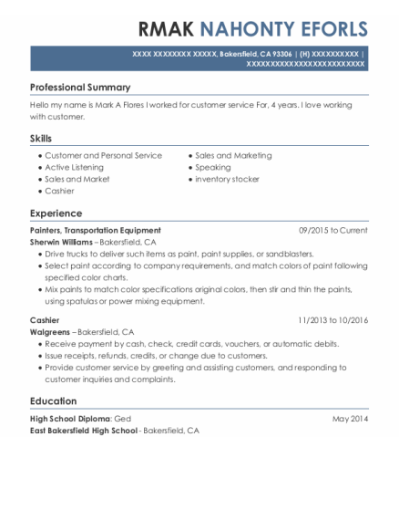 Painters Assistant resume format California