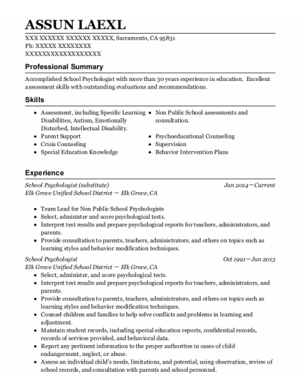 School Psychologist resume format California