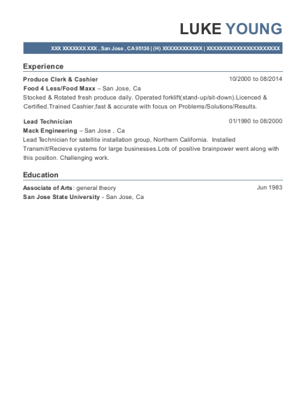 Produce Clerk & Cashier resume template California