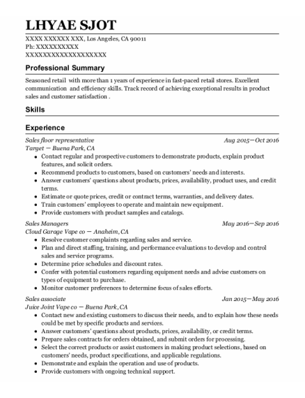 Sales Floor Representative resume example California