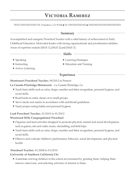 Montessori Preschool Teacher resume template California