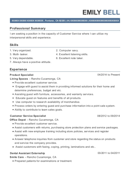 Product Specialist resume format California