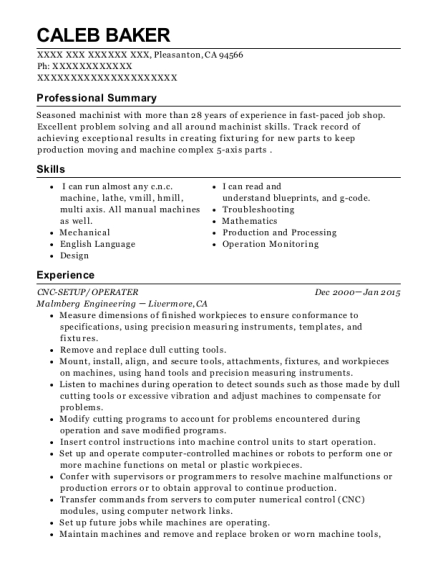 CNC SETUP resume template California