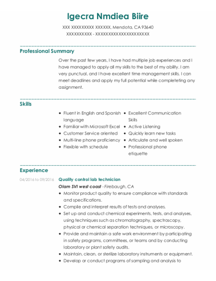 Quality Control Lab Technician resume template California