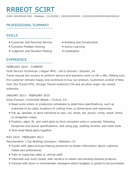 Shop Forman resume template California