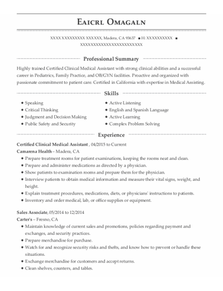 Certified Clinical Medical Assistant resume example California