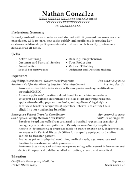 Eligibility Interviewers resume format California