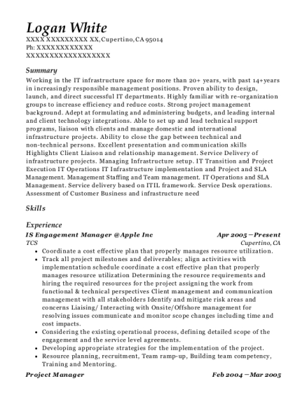 IS Engagement Manager Apple Inc resume format California
