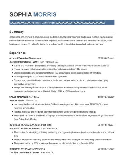 Account Executive Government resume example California