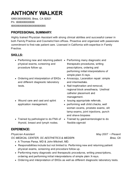Physician Assistant resume format California