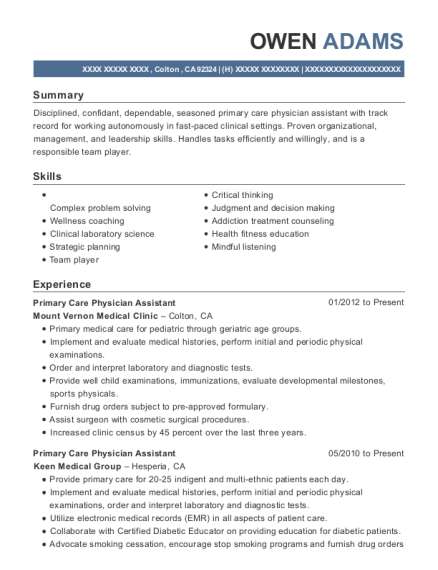 Primary Care Physician Assistant resume template California