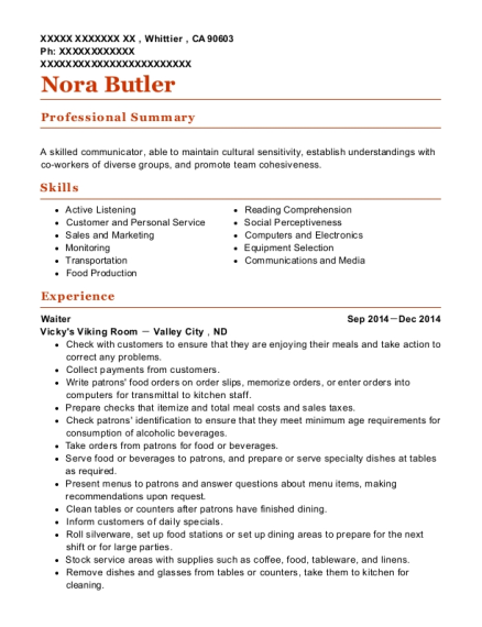 Waiter resume sample California