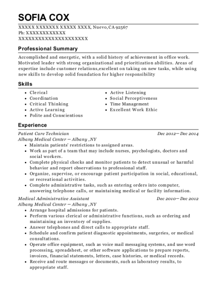 Patient Care Technician resume example California