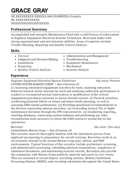 Engineer Equipment Electrical System Technician resume sample California