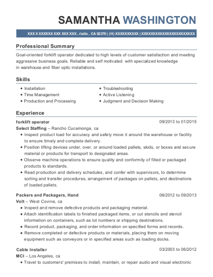 Forklift Operator resume example California