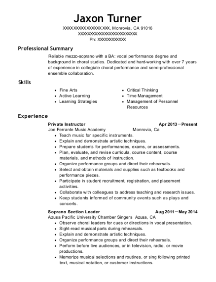 Private Instructor resume sample California