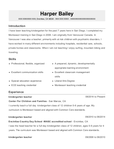 Kindergarten Teacher resume format California