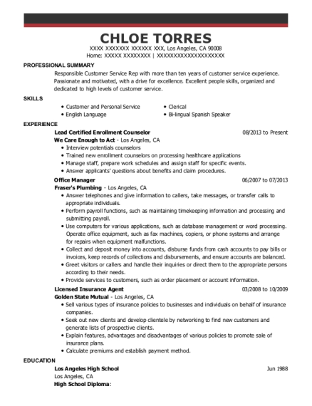 Lead Certified Enrollment Counselor resume format California