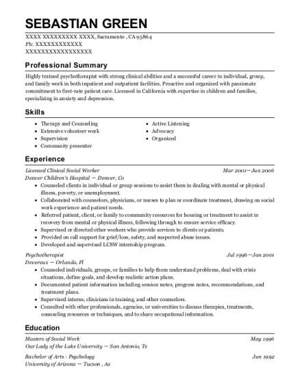 Licensed Clinical Social Worker resume template California