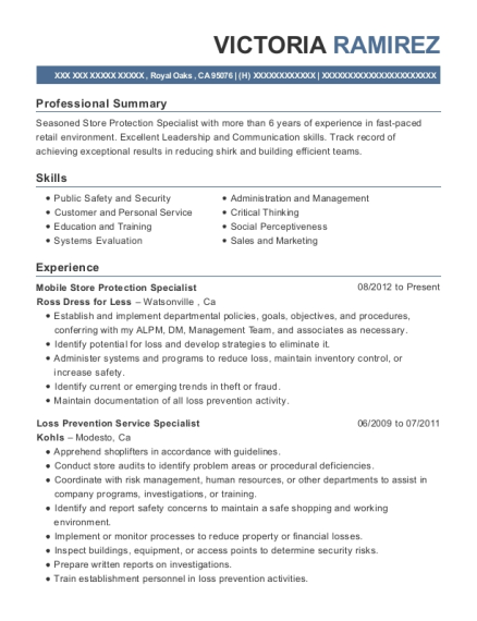 Mobile Store Protection Specialist resume example California