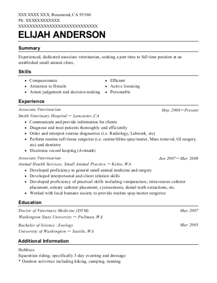 Associate Veterinarian resume sample California