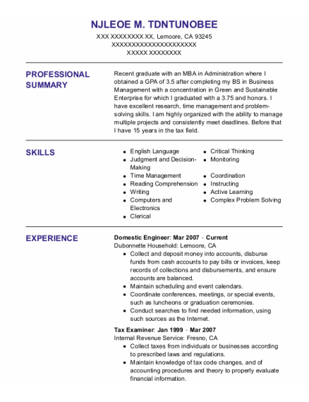 Domestic Engineer resume format California