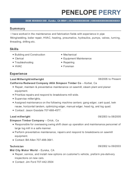 Lead Millwright resume sample California