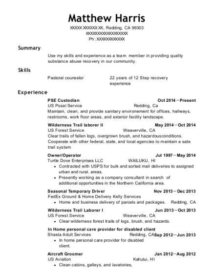 PSE Custodian resume template California