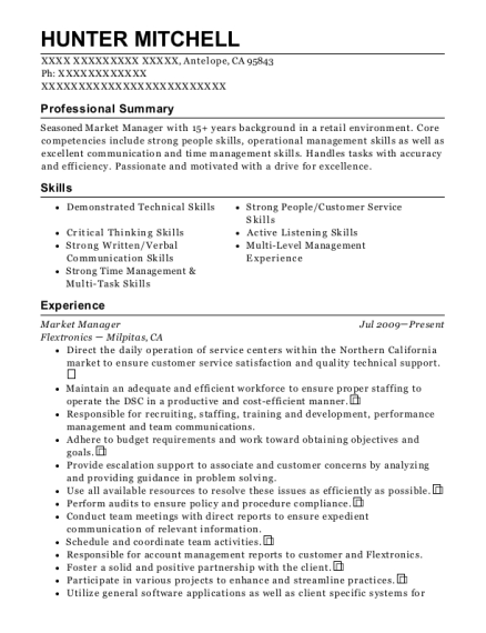 Market Manager resume format California