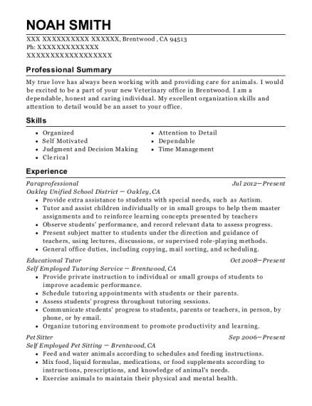 Paraprofessional resume format California