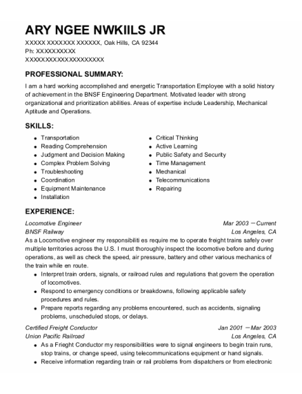 Locomotive Engineer resume template California