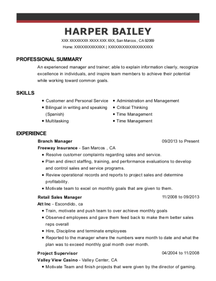 Branch Manager resume format California