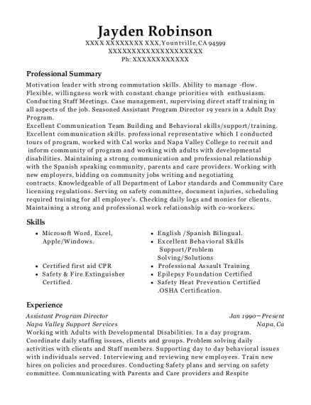 Assistant Program Director resume template California