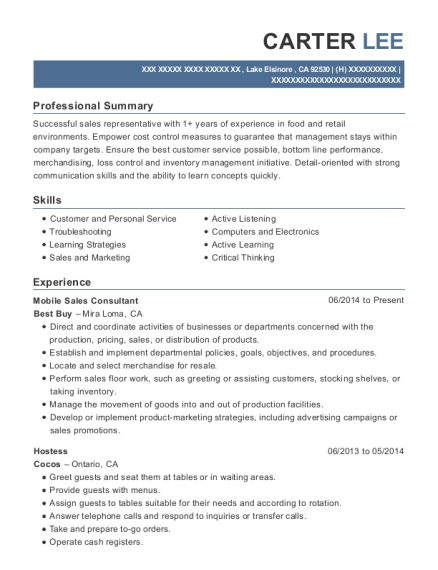 Mobile Sales Consultant resume format California